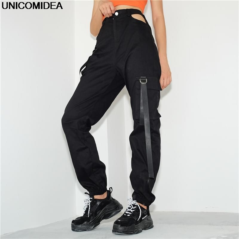 2019 Women High Waist Pencil   Pants   Pockets Patckwork Hollow Out Trousers Womens Streetwear Cargo   Pants   Femme   Pants     Capris   Black