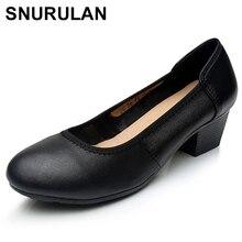 SNURULAN Демисезонный Для женщин насосы модные, пикантные толстые круглый носок кожа Для женщин Обувь на высоких каблуках Женская обувь без застежек Повседневное ShoesE612