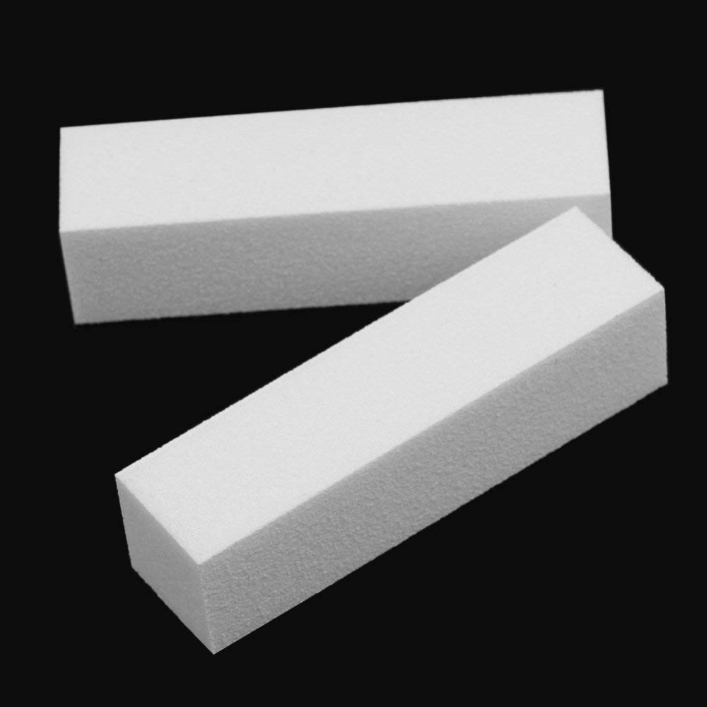 4 Pcs /Pack White Nail Art Buffer Block Sanding Block Polishing Files Manicure Nail Art Tips Tool for Nails stylish 24 pcs smile expression pattern nail art false nails page 1