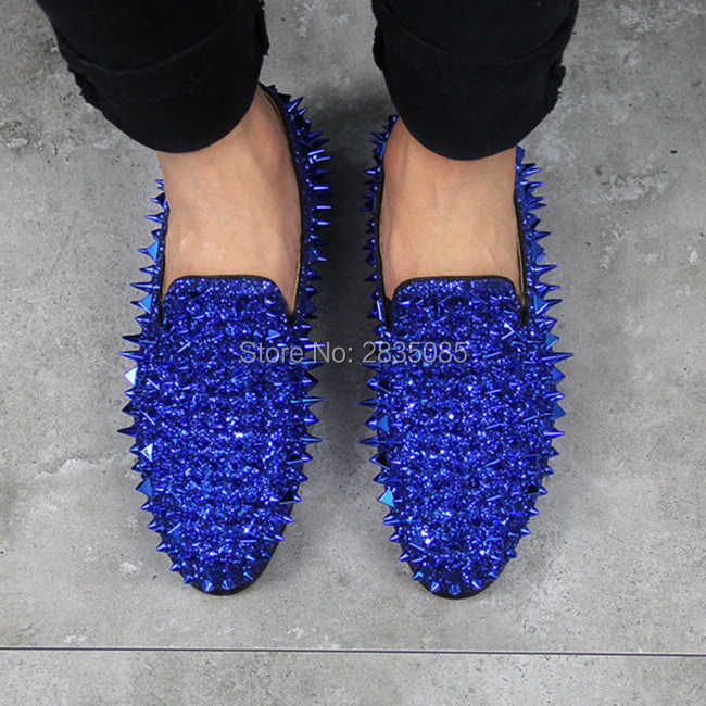 78515e10f3 LTTL Designer Blue Green Red Black Gold Silver Mens Casual Shoes Flat  Sparkle Glitter Spiked Wedding Shoes Rivets Men Loafers