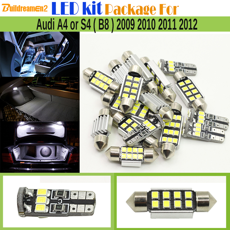 Buildreamen2 Car Interior 2835 LED Kit Package Canbus LED Bulb White Dome Door License Plate Light For Audi A4 S4 (B8) 2009-2012 15x canbus dome door license plate light error free white bulb led interior package kit fit for a6 or s6 c5 1998 2004 63