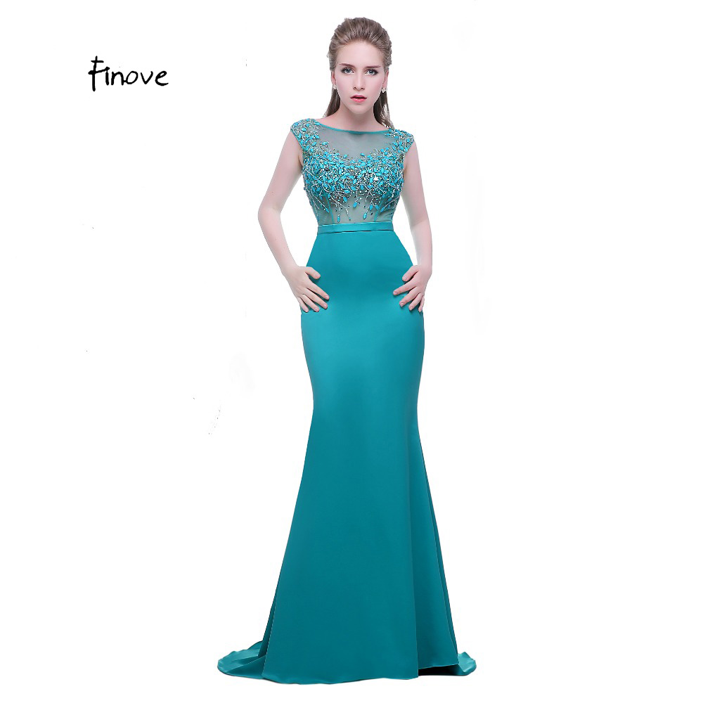 Finove Wine Red Long Elegant Memaid Evening Dresses 2018 Sexy Party ...
