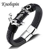 High Quality 316 Stainless Steel Men Genuine Leather Anchor Bracelet Man Jewelry Bracelets Bangeles Accessories Pulseiras