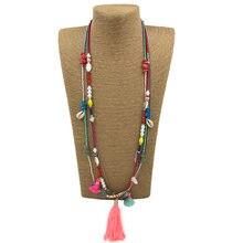 Новинка ручная работа розовая бахрома кисточка кулон ожерелье