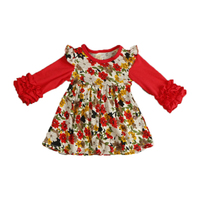 Girls Boutique Clothes Floral Baby Girls Dress Ruffle Icing Girls Party Dress Soft Fashion Big Girls