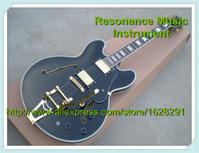 Top Selling Musical Instrument Black Chinese ES Electric Acoustic Hollow Body Golden Bigsby Jazz Guitarra Kit Custom Available es acoustic es 12m ad