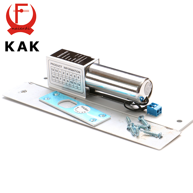 купить KAK DC 12V Electric Drop Bolt Door Lock 2-Lines Magnetic Induction Auto Deadbolt Locks For Security Door Access Control Systems по цене 1299.43 рублей