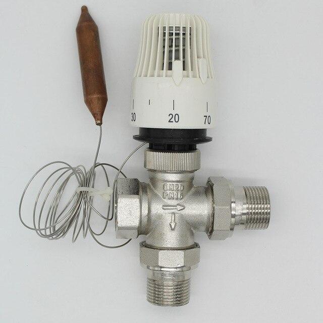 Energiebesparing 30-70 graden controle vloerverwarmingssysteem thermostaatkraan M30 * 1.5 afstandsbediening Drie manier valve