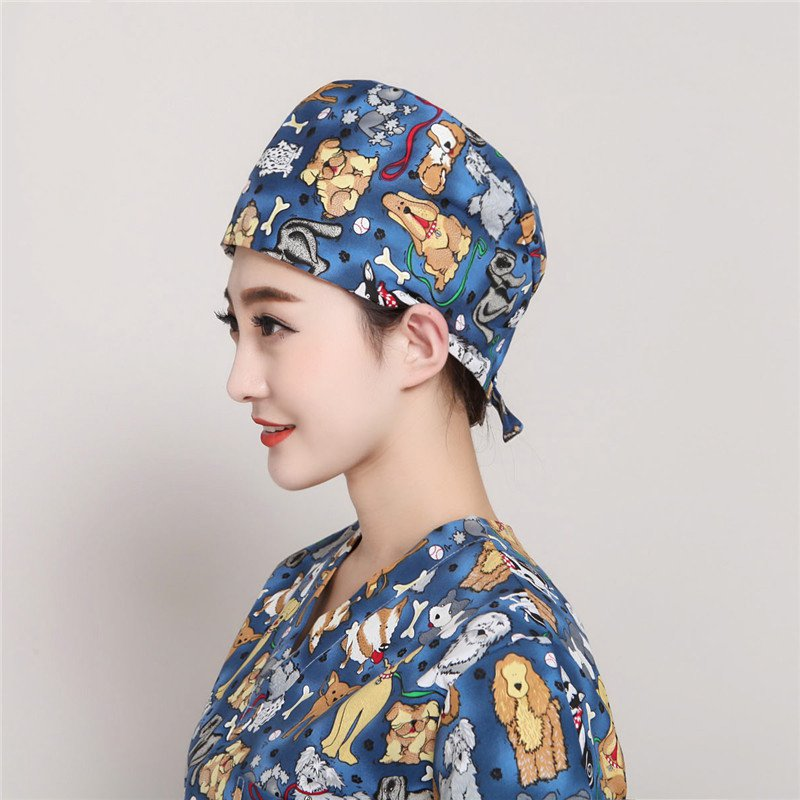 Medical Staff Printed Cap Dog Pattern Female Nurse Doctor Scrub Cap Operating Room Anesthesiologist Profession Surgical Work Hat