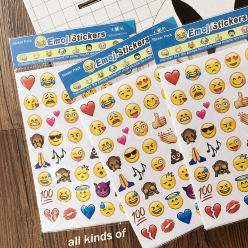 4pcs Classic Emoji Smile Face kids Stickers brands For Notebook phone Message  cartoon sticker toys for children