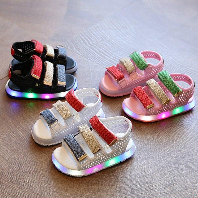 Sandals Kids Shoe Flat Girls Baby Sport Summer Children New for Boys Casual LED Size-21-30