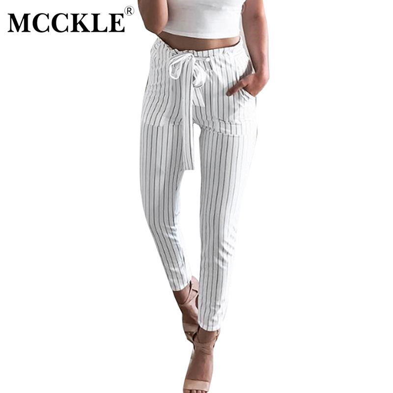 MCCKLE Striped Strechy Elastic High Waist Harem Pants Women Bowtie Belt Slim Long Trousers Women's Casual Capris With Pockets