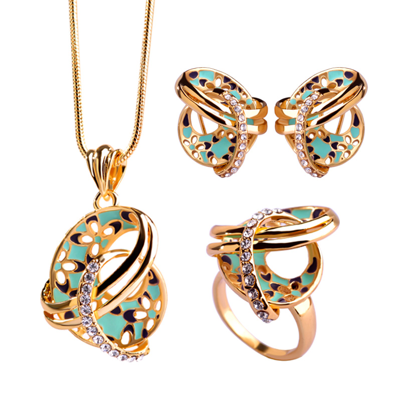 Blucome Dubai Necklace Colar Max Brincos Wedding Rings Joias Chinese Knot Flower French Hooks Earrings Enamel