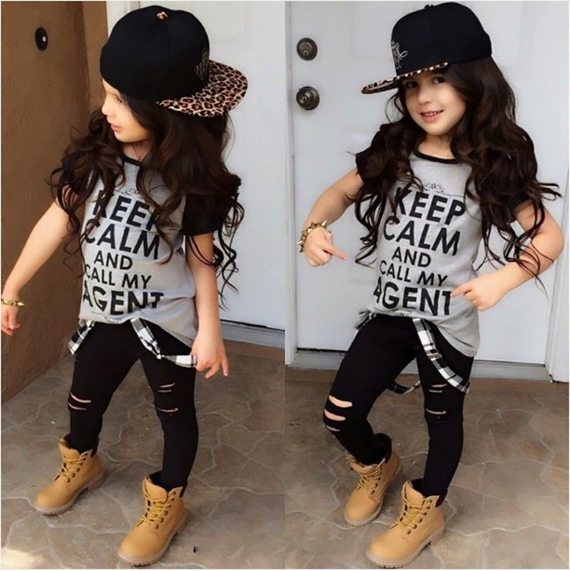 2pcs Tops T shirt Pants Casual Trousers Stylish Kids Baby Girls Clothes  Sets Belt Gray Hole Cotton 2016 Outfit Set Girl Age 2 7Y,in Clothing Sets  from