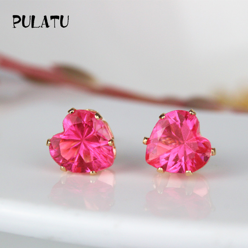for accessories setting cz gold earring wedding party on body jewelry women crytsal item stud color earrings palted from square stone in crystal