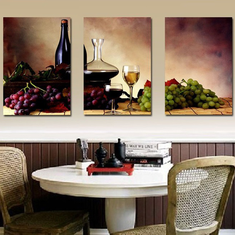Unframed 3 Panel Wall Painting Reto Abstract Bottle Wine Grape Fruit Vintage Home Wall Decor Print Painting On Canvas Kitchen