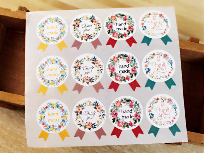 12pcs/set sealing sticker for candy cookie box bag chocolate paper gift package Wedding Party favor DIY handmade garland Wh