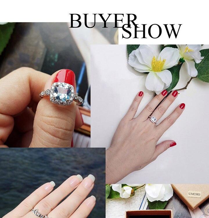 HTB1G6u4eEuF3KVjSZK9q6zVtXXaF UMCHO Real S925 Sterling Silver Rings for Women Blue Topaz Ring Gemstone Aquamarine Cushion Romantic Gift Engagement Jewelry