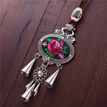 necklaces & pendants Tassels Retro Ethnic Miao Original manual Classic Embroidery Ceramic Beads Nylon rope