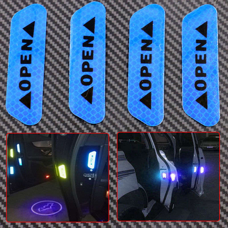 4pcs Car Door Open Sticker Blue Reflective Tape Safety Warning Decals Stickers