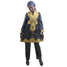 MD 2019 african clothes for women tops pants set embroidery pattern dress south africa lady clothing with scarf long trouser