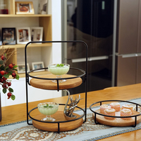 2 layers Storage holders cupcake stand wood kitchen racks perfume make up display supply party event home decoration