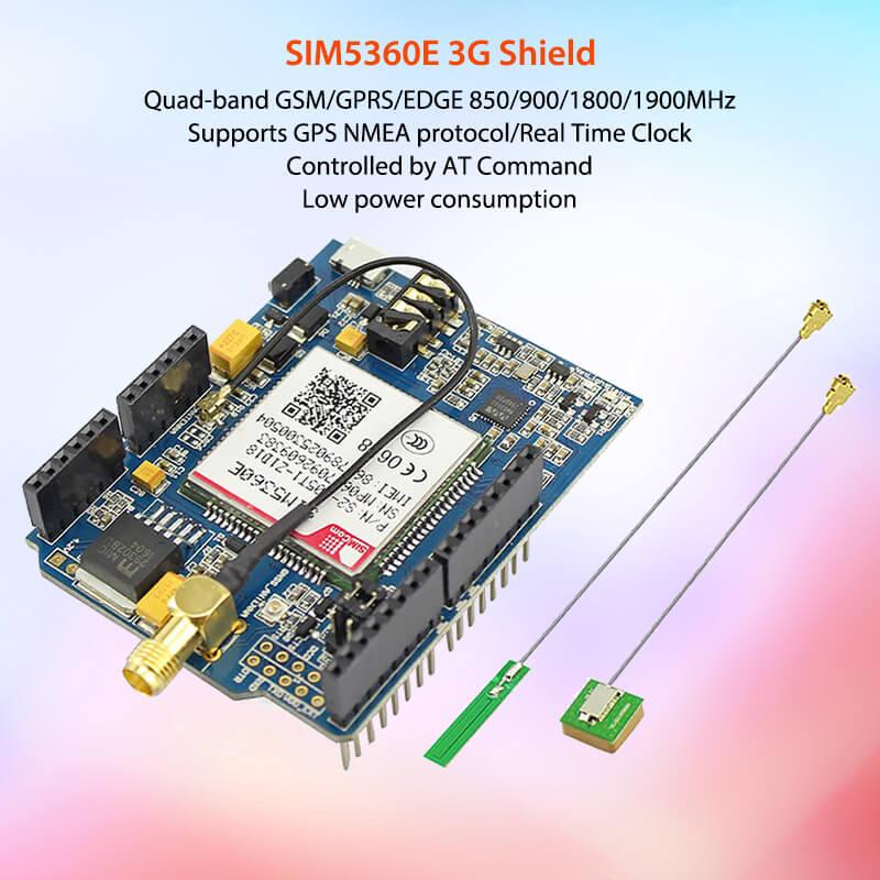Elecrow GSM/GPRS/EDGE SIM5360E 3G bouclier pour Arduino Uno Mega Module A-GPS carte Micro SIM 3G carte de développement eCALL réseau