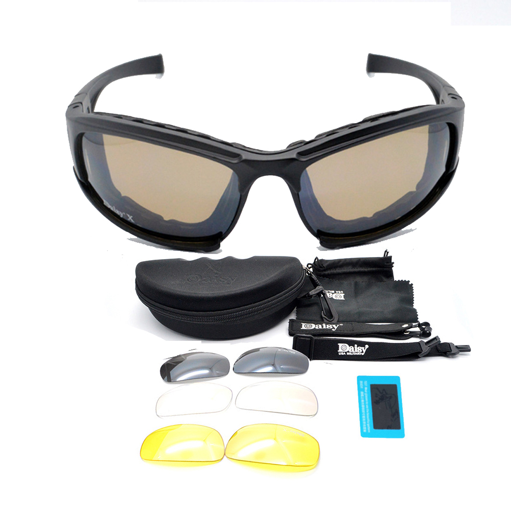 f1b04cab4018d Daisy X7 Óculos Óculos De Sol Dos Homens Óculos de Sol Militares Do Exército  Masculino 4 Kit de Lente Para O Jogo de Guerra Óculos Táticos dos homens  Oudoor ...