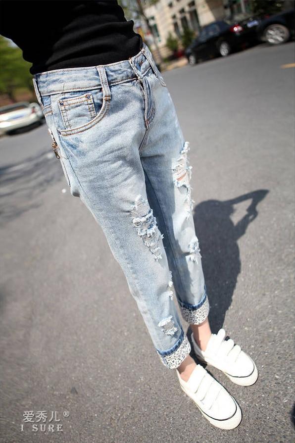4eba8ffed6a 2014 New fashion High Street Mid Waist casual light Blue hole ripped jeans  Denim cargo straight boyfriend jeans for women on Aliexpress.com