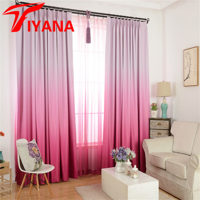 Tiyana Purple Gradient Blackout Curtains For Living Room Modern Solid Pink Window Curtain Drapes Bedroom Blue