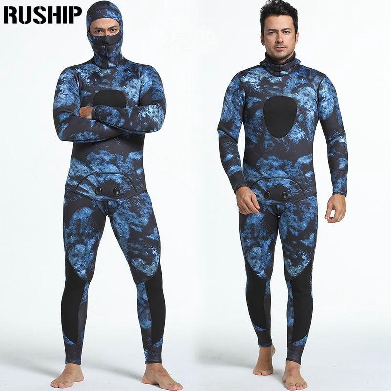 Professionnel 3mm combinaison de Plongée en néoprène hommes pesca plongée chasse sous-marine combinaison tuba maillot de bain Fendu Costumes combinaison chapeau surf