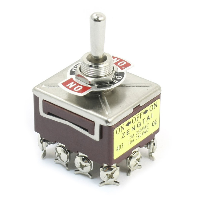 AC 380V 10A ON/OFF/ON 3 Positions 12 Pin Latching Toggle Switch 4PDT