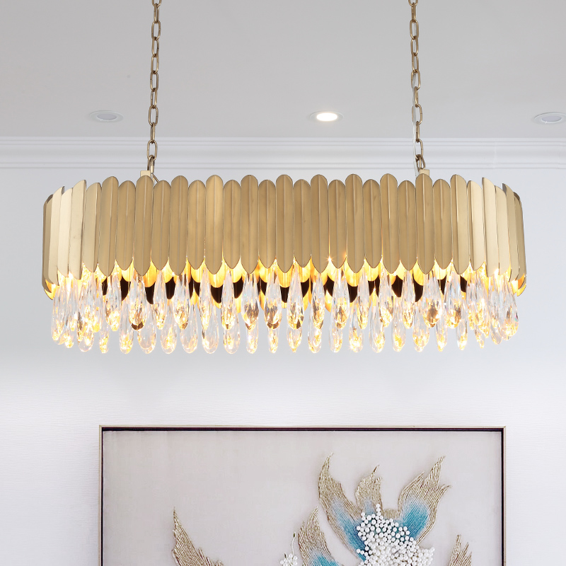 Oval Modern Crystal Chandelier Dining Room Gold Stainless Steel Light 4