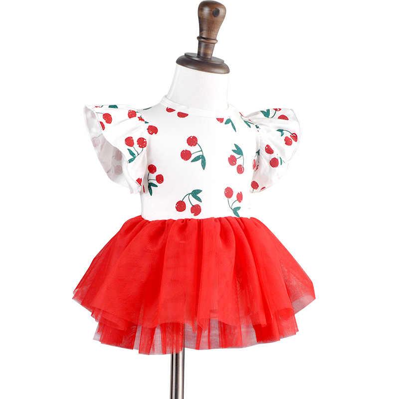 Baby Girl odpowiednio zaplanować podróż z długim rękawem bawełniane ubranko nowe letnie czerwony Tutu wiśni sukienka trójkąt na ramię przycisk 1 kawałek ciała niemowląt Born prezent 3m 6m