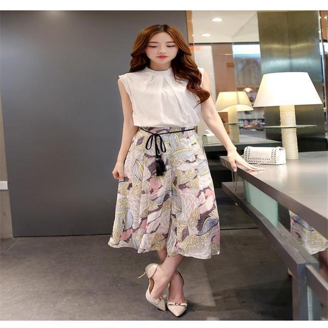 2017 Verano Coreano Damas de La Moda Temperamento Blusa de Algodón + Pantalones de Pierna Ancha de la Gasa Traje