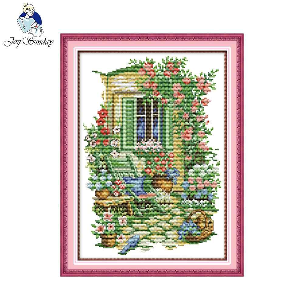 Joy Sunday Garden corner Needlework DIY Cross stitch Sets For Embroidery kits Precise Printed Patterns Counted Cross-Stitching