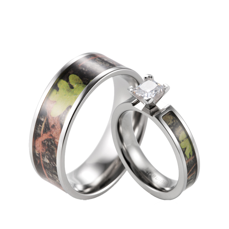 shardon green camo engagement wedding ring set womens titanium princess cz engagement ring with mens wedding - Camouflage Wedding Ring Sets