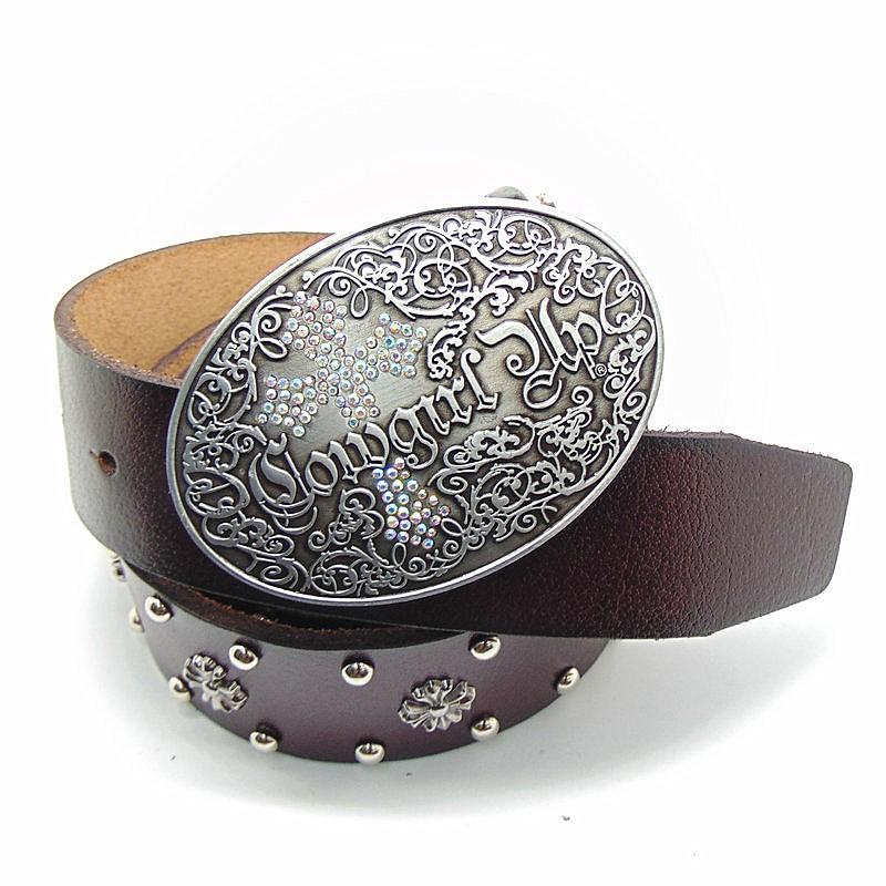 25ac18eb31c8 Western Cowgirl Femmes Ceinture Croix Concho Véritable En Cuir Brun Large Ceinture  pour les Femmes Ovale Boucle Mode Casual Appral Accessoires