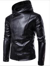 Pu Faux Leather Jacket Men Biker Male Motorcycle Hood Black M -4xl