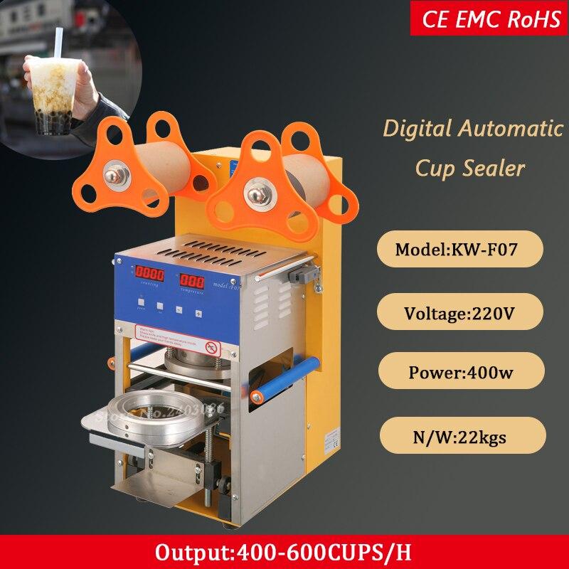 Copo de plástico automática máquina de vedação para o chá da bolha conduziu o painel 220 V/110 V 400-600 copos/ hora