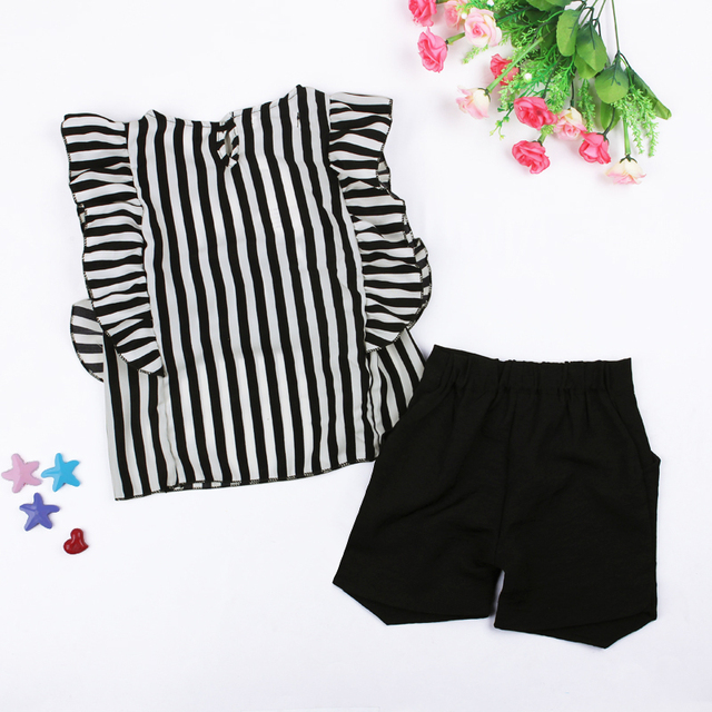2018 Summer New Fashion Girls 2PCS Clothing Set Striped Top+Black Shorts Casual Girls Clothes DS40