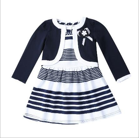 GARYDUCK Autumn Winter Girls Clothing Sets Fashion Kids Striped Sleeveless Dress + Long Sleeve Coat 2pcs Children Clothes Suits girls knitted dress sets children turtleneck long sleeve sweater suspenders two piece dress sets kids casual dress suits