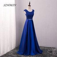 Neue Eine Linie Robe De Soiree Scoop Neck Flügelärmeln Schärpen Appliques Satin Royal Blue Abendkleider Vestido De Festa Party Kleider