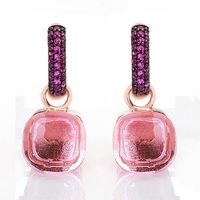 Women Fashion Rose Gold With Black Plated Pink Zircon Earrings Gift 14 Colors