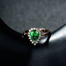 Fashion Jewelry 18K Rose Gold Natural Pear 6x9mm Tsavorite Ring Wedding Ring WU0080