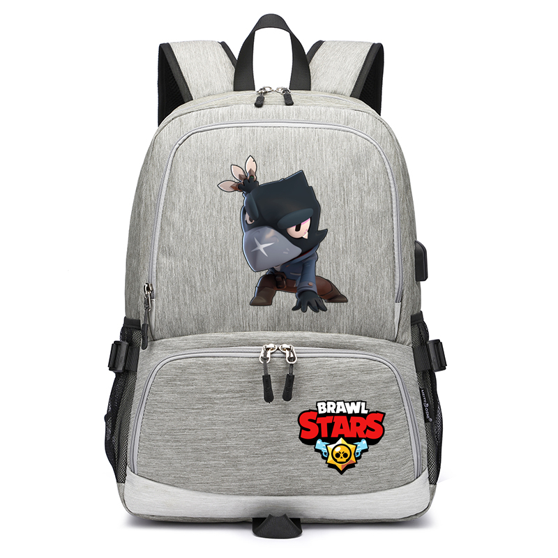Canvas Backpack Rucksack Laptop Shoulder-Bag Travel-Bag Usb-Charging Brawl Stars Children's