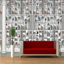 beibehang Customize any size fresco wallpapers European 3D stereoscopic library bookshelf TV background wall wallpaper(China)