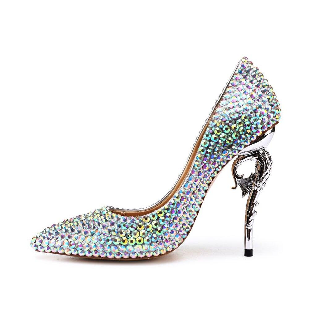 Mariage Super Fsj Partie Pompes Chaussures Femmes Hauts Fsj01 De Cuir 5 Cm Talons Étrange En 11 Cristal D'été Peau Sexy Véritable Mouton RRxrqzn4