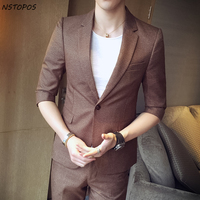 (Blazer +Pant ) Mens Summer Suit 2017 New Brand Short Sleeve Brown Black Color Slim Fit Terno Masculino Costumer Marriage Homme