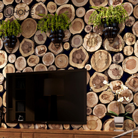 Vintage 3D Wood Pile Brick Wall Paper Roll Bar Restaurant Coffee Shop Bedroom Living Room Backdrop Rustic Wallpapers 53x1000cm